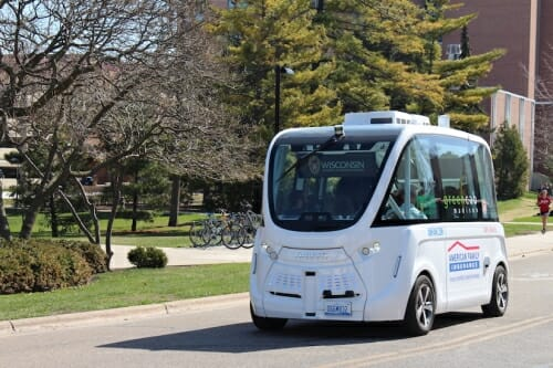 Photo: Autonomous shuttle on street