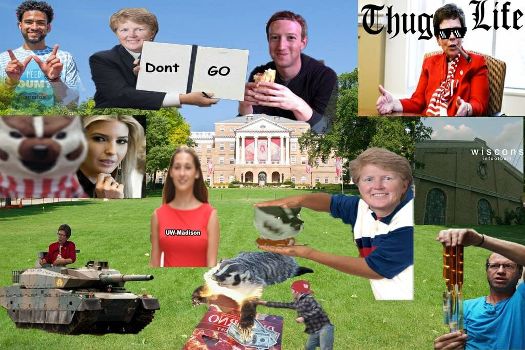 "The cover photo from UW Memes for Milk-Chugging Teens, featuring Chancellor Blank riding a tank, Mark Zuckerberg eating a brat, Lori Berquam holding a sign that says ""Don't go,"" and other humorous images."