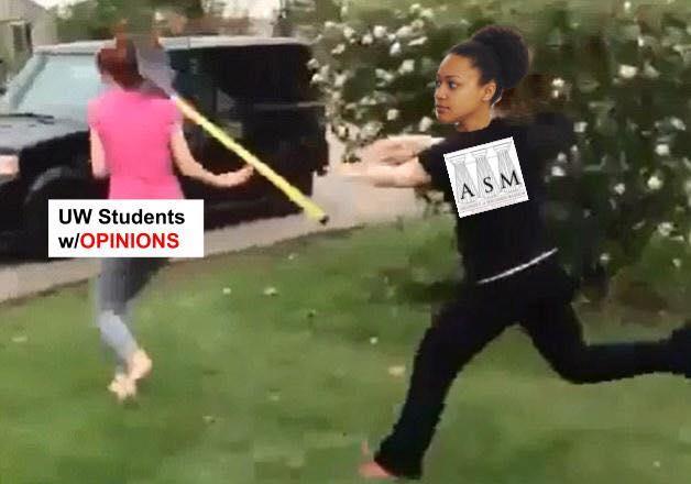 "A meme depicting the student government chair hurling a shovel at a person (labeled ""UW-Madison students with opinions"")"