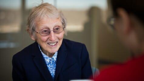 Karen Pridham, emeritus professor of nursing, discusses research performed by Amanda Schmoeger, just before she graduated.