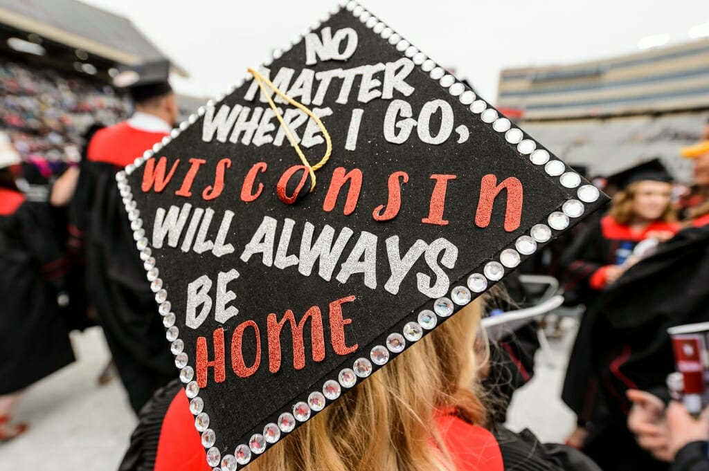 Photo of a mortarboard that reads,