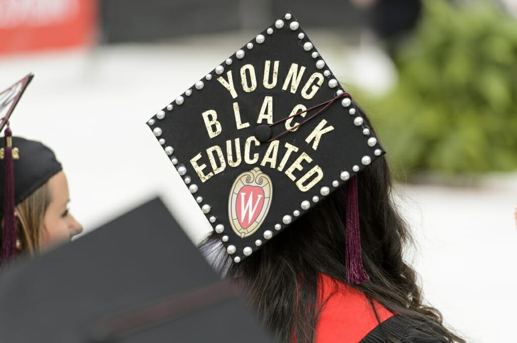 Photo of mortarboard that reads,