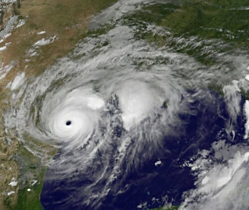 Photo: Satellite view of Hurricane Harvey