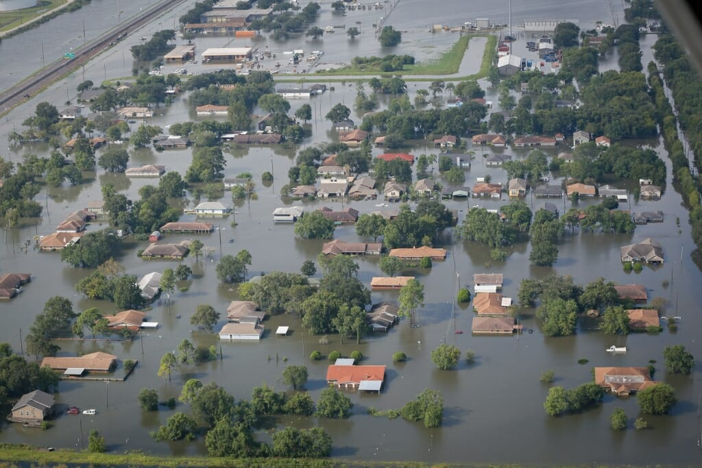 Photo: Aerial view of buildings partially underwater