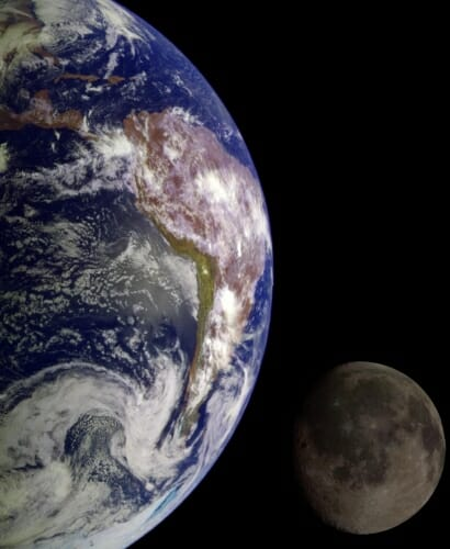 Photo: Composite of Earth and moon