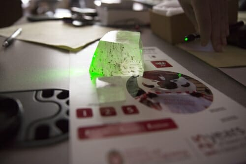 Photo: Calcite turned green by laser beam