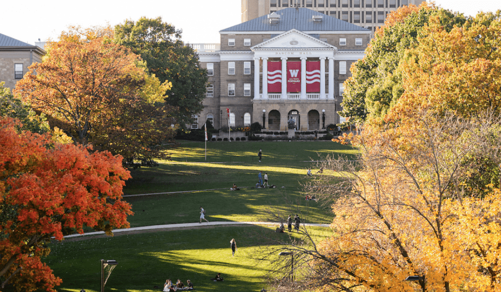 A photo of Bascom Hill in the fall.
