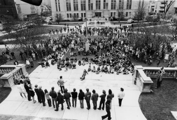 Elevated view of a student protest on the Library Mall at the University of Wisconsin–Madison campus.