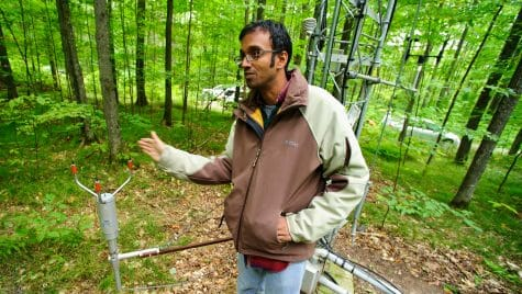 Photo: Desai gesturing by base of tower in forest