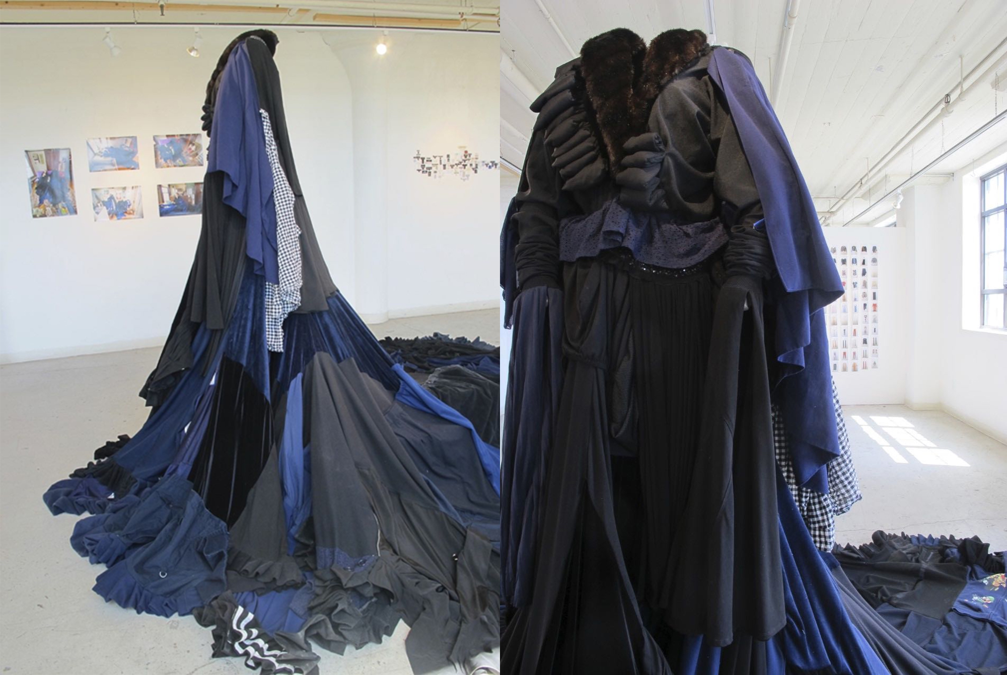 The 100 pound dress Emily Popp created entirely out of recycled clothing. It's a mixture of black and blue garments combined into one large, flowing dress.
