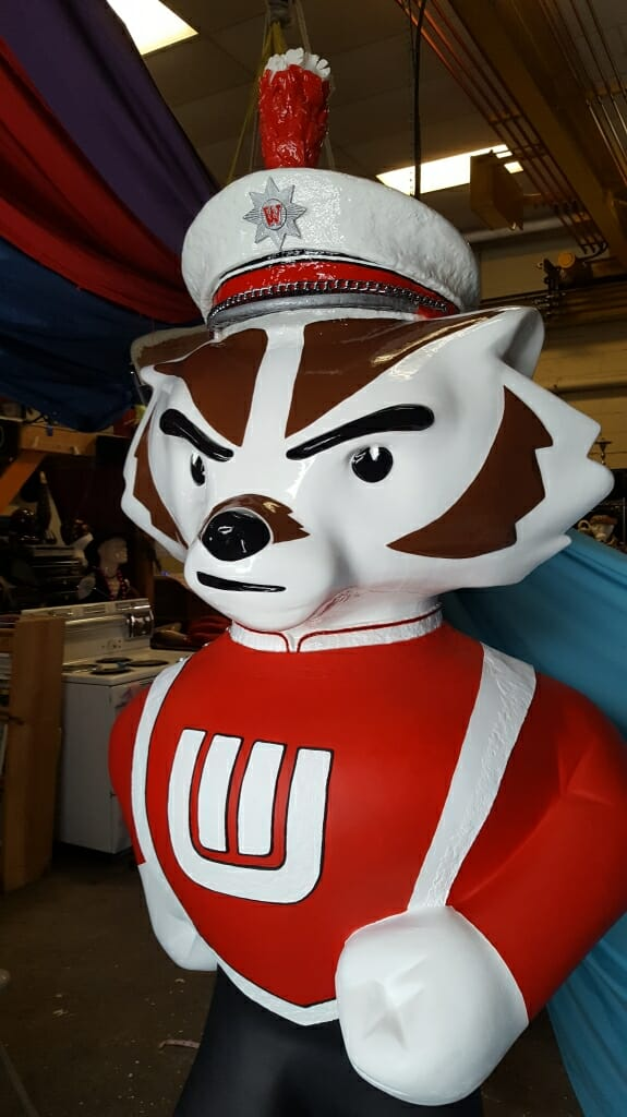 "A close-up of the face of ""...And On Wisconsin!"""