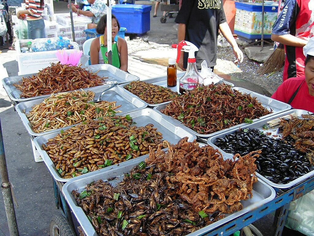 Photo: Deep-fried insects displayed at an open-air market