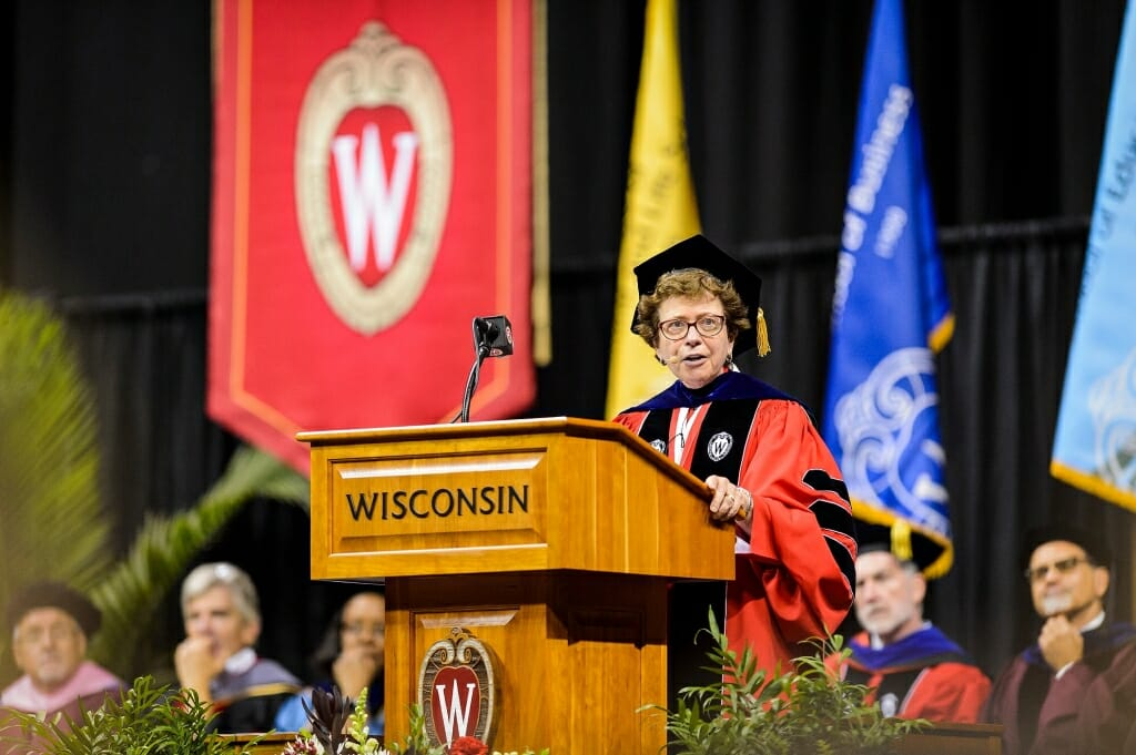 Chancellor Rebecca Blank speaks to thousands of first-year students.