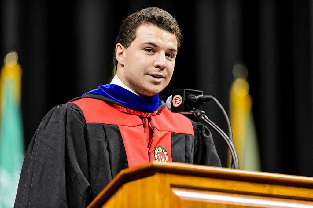 Undergraduate Yogev Ben-Yitschak, a junior from Milwaukee, Wis., but who grew up in Northern Israel, speaks at convocation.