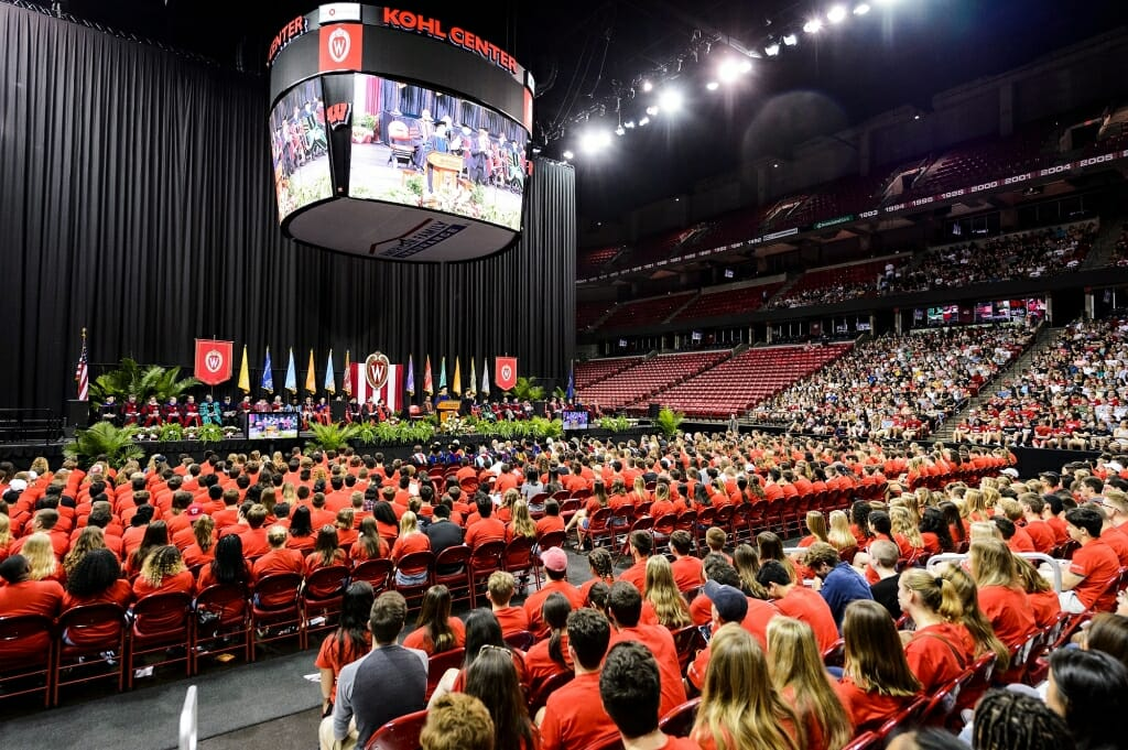 Provost Sarah Mangelsdorf speaks to thousands of first-year students gathered for convocation..