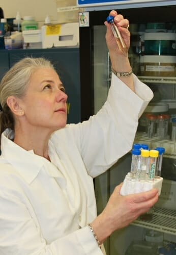 Photo: Marina Emborg looking at pipette and holding a beaker