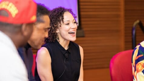 Rebecca Arends reacts during the RedTalk discussion. Arends graduated from UW-Madison in 2004, earning her degree in History and Afro-American Studies as a Powers Knapp scholar. Since then, Arends has become an accomplished professional dancer, choreographer, and educator.