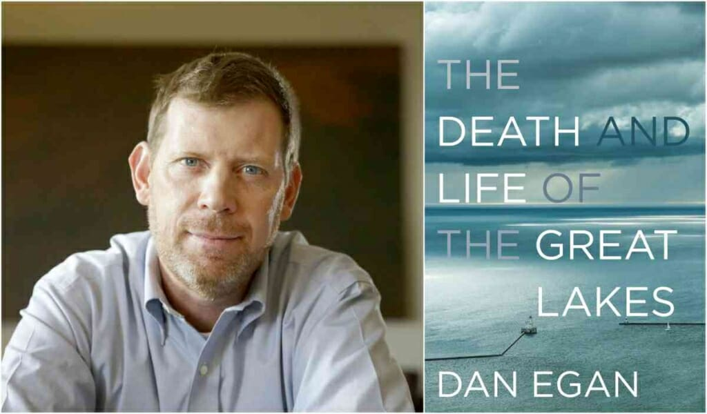 Photos: Portrait of Dan Egan next to picture of book cover
