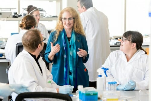 Jo Handelsman (center), director of WID, talks with instructors from eight UW System schools at an event earlier this year. PHOTO:BRYCE RICHTER