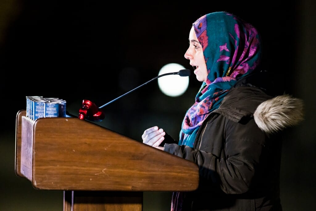 Photo of Maria Ahmad, assistant director of the Multicultural Student Center speaking.