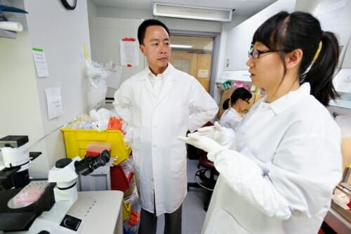 Photo: Su-Chun Zhang and researcher in lab wearing white lab coats