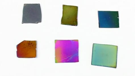An array of colorful diamonds shows the hues imparted to the crystal by embedding silver nanoparticles in between very thin films of diamond. The colorful diamonds could make the diamond suitable for light-powered chemical reactions.