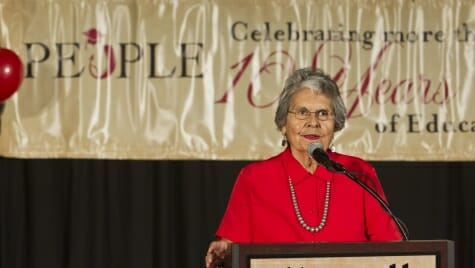 Photo of Ada Deer speaking at the annual PEOPLE program banquet in 2011.