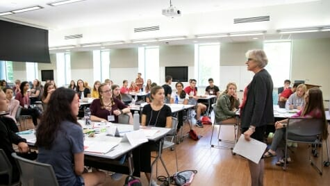 College of Agricultural and Life Sciences Dean Kate VandenBosch speaks to QuickStart students in Nancy Nicholas Hall on Aug. 22.