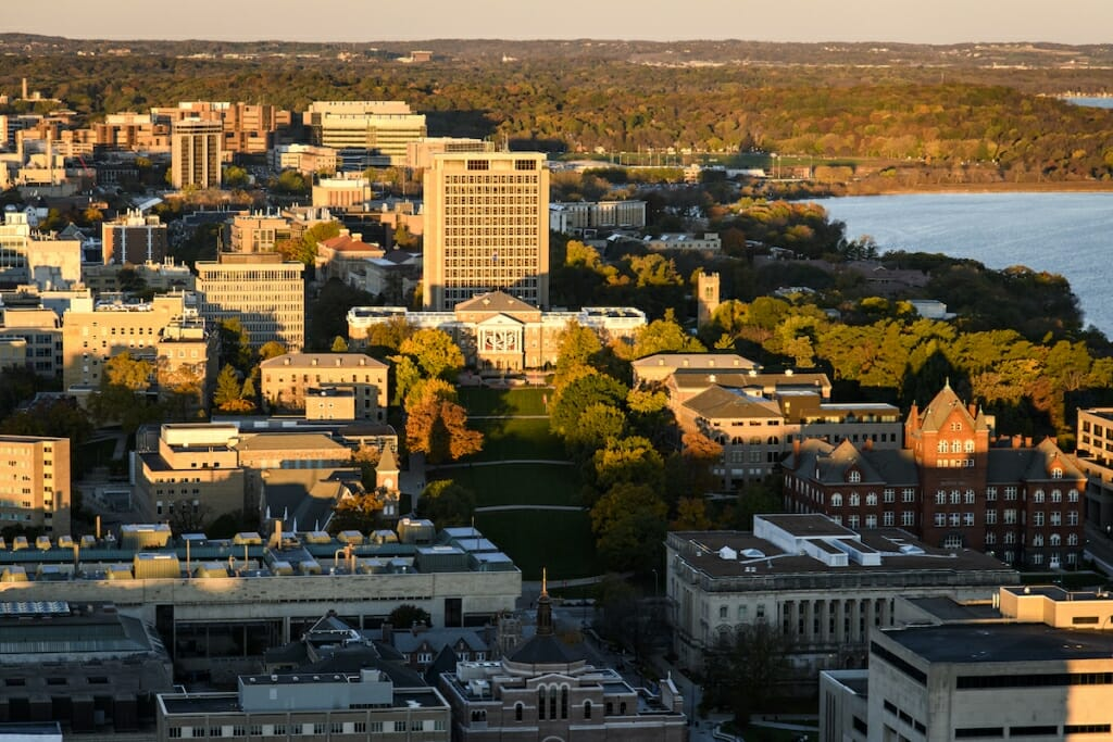 Photo: Aerial view of Bascom Hill and surrounding campus area
