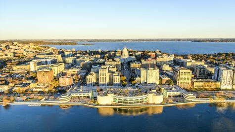 Photo: Aerial view of Monona Terrace, the Capitol and surrounding buildings