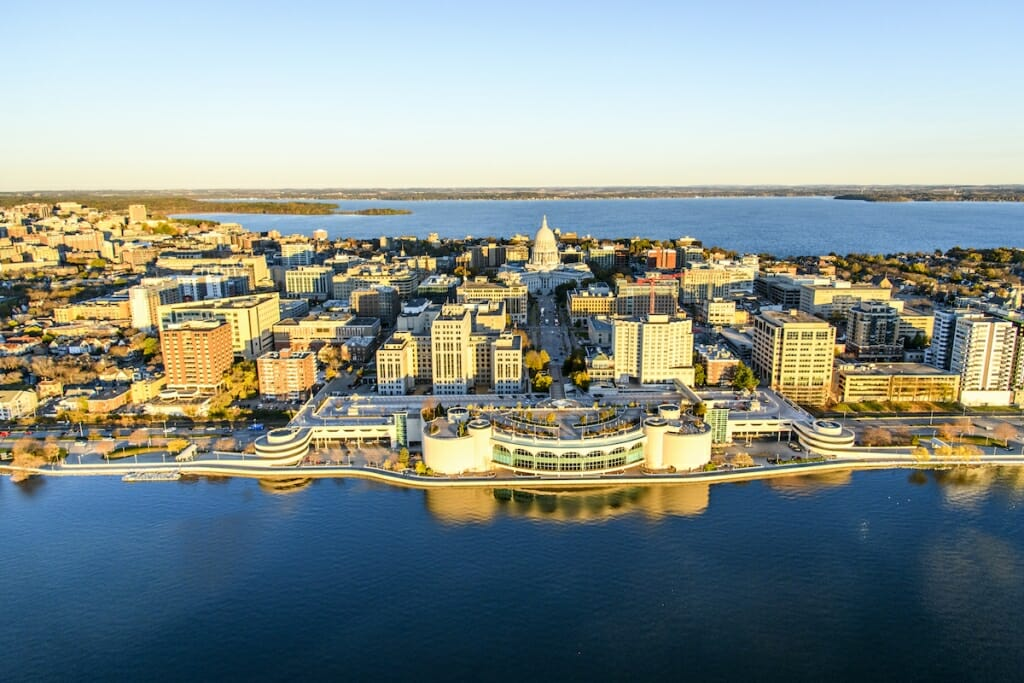 Photo: Aerial view of isthmus, including Capitol