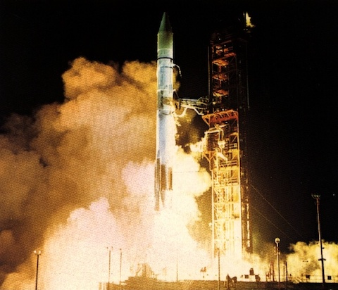 An Atlas-Centaur rocket lifts the Orbiting Astronomical Observatory-2 into orbit Dec. 7, 1968.