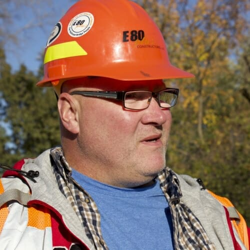Photo: Shane Anderson wearing a hardhat