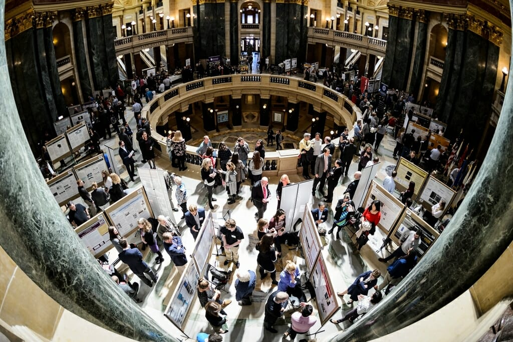 Photo: Capitol Rotunda filled with students and displays