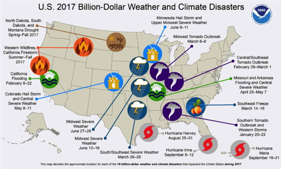 Graphic: Map of weather disaster locations