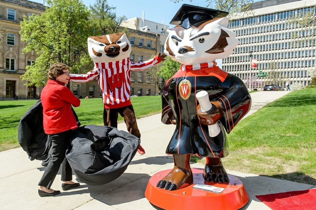 Photo: Rebecca Blank with Bucky Badger and Graduate Bucky statue