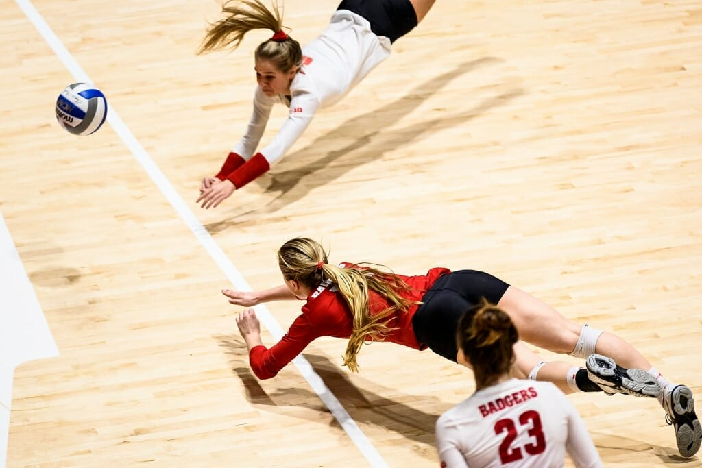 Photo: Volleyball players diving for ball