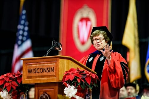 Photo of Chancellor Rebecca Blank speaking during the winter commencement ceremony