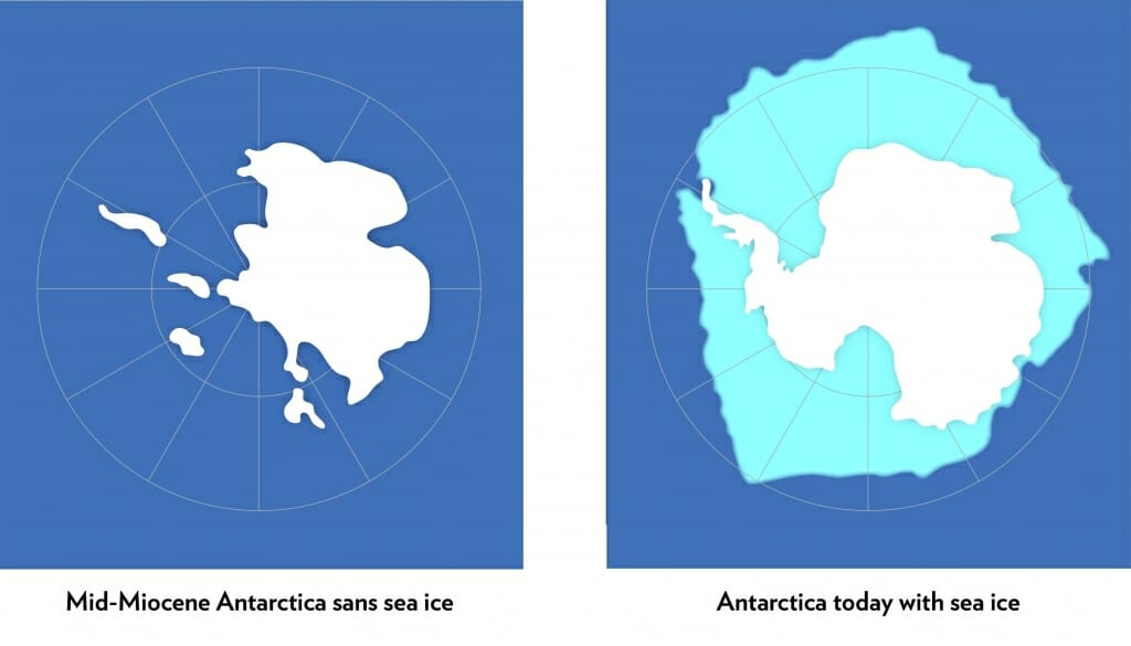 Graphic: Map of Antarctica with and without sea ice