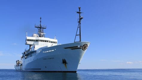 Photo: Research vessel in water