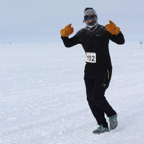 Photo: 002: IceCube winterover Kathrin Mallot running a half marathon at the South Pole in January, 2019