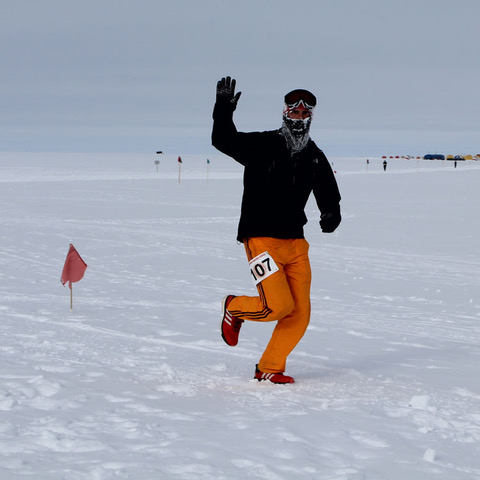 Photo: 003: IceCube winterover Benjamin Eberhard running a half marathon at the South Pole in January, 2019