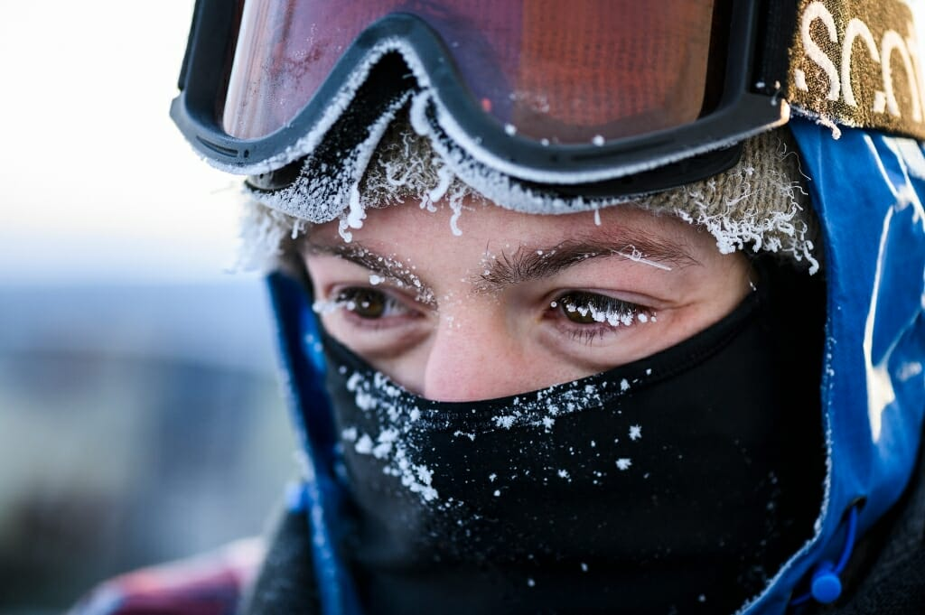 Icicles are visible on the eyelashes and clothing of graduate student Brian Zimmerman. Temperatures at sunrise on University Bay hovered around minus 24-degrees Fahrenheit and students bundled up to keep warm.