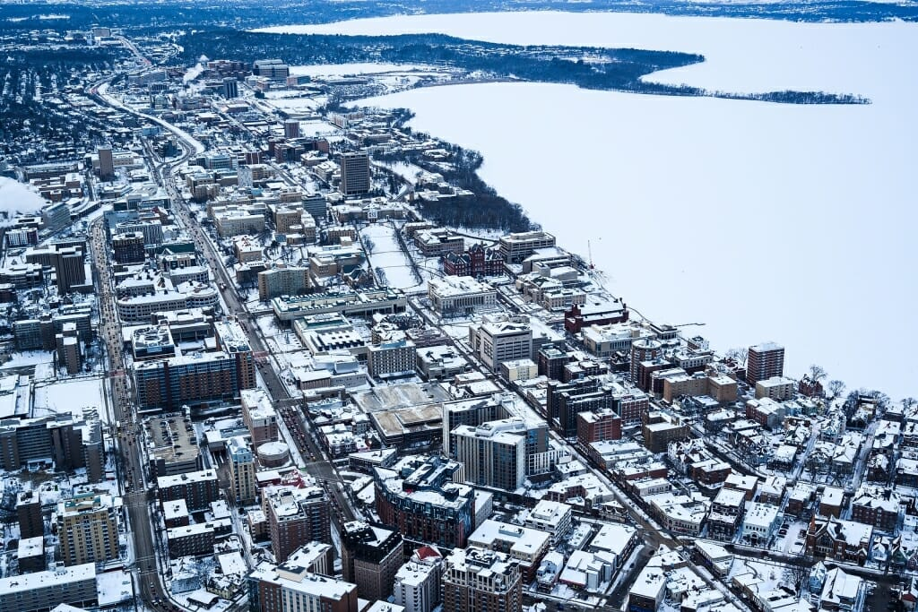Photo: Aerial view of campus and surrounding area