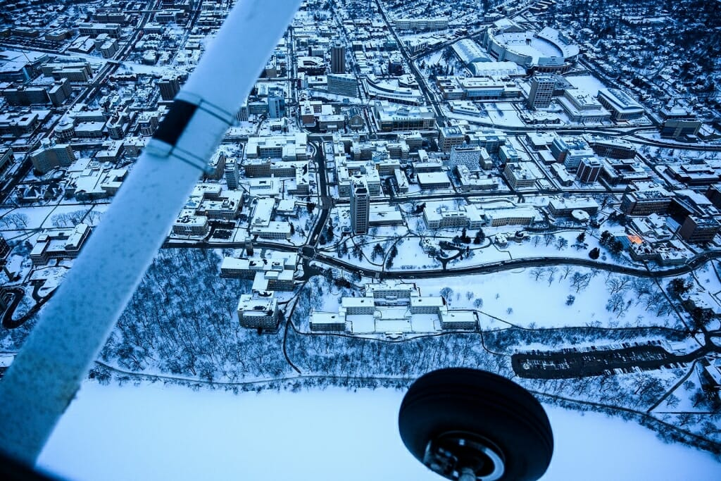 Photo: Aerial view of central campus buildings