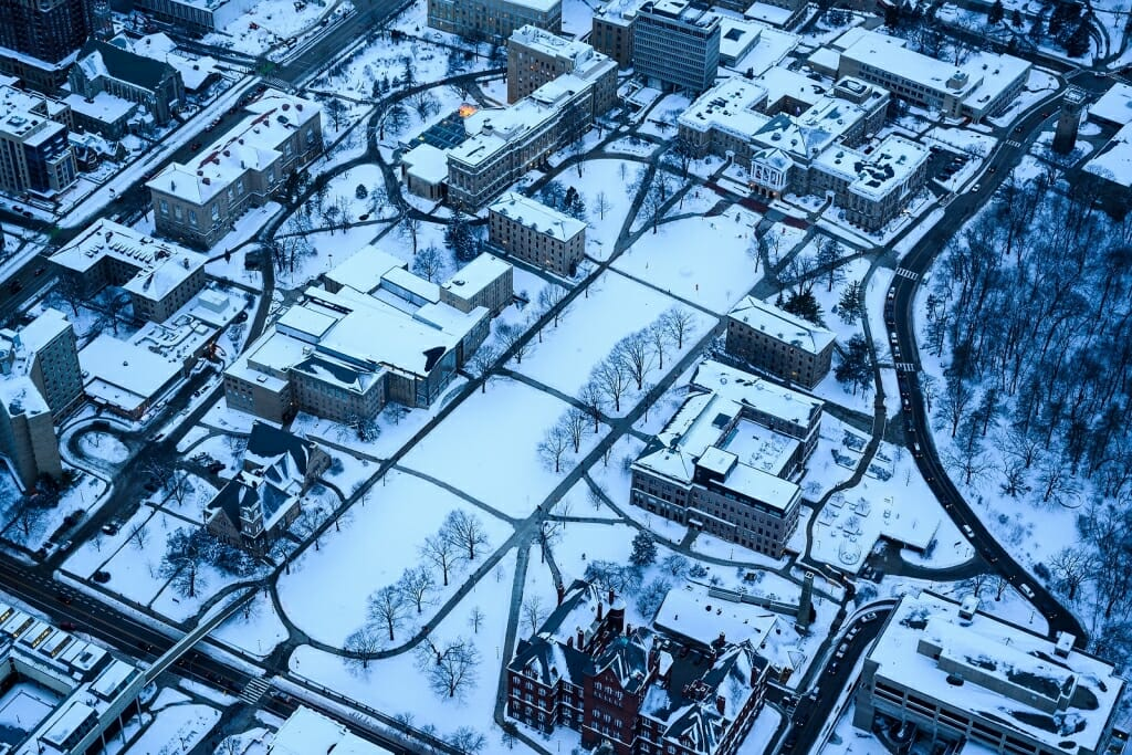 Photo: Aerial view of buildings on Bascom Hill
