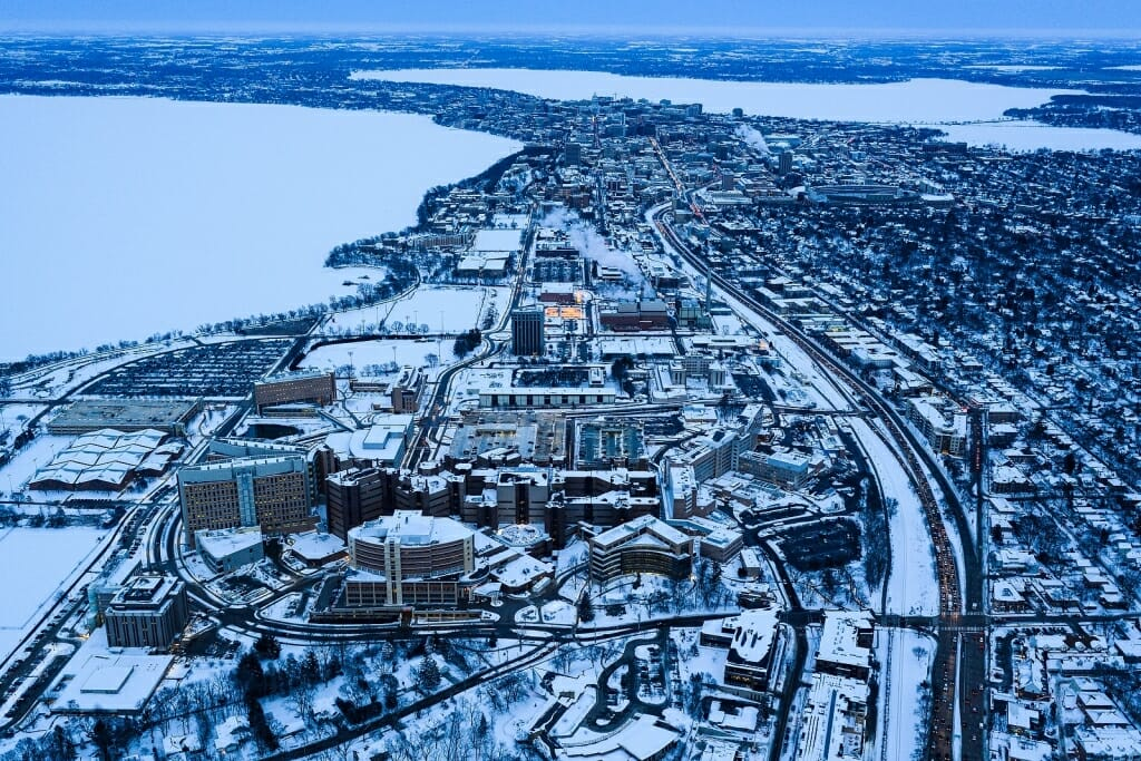 Photo: Aerial view of hospital campus
