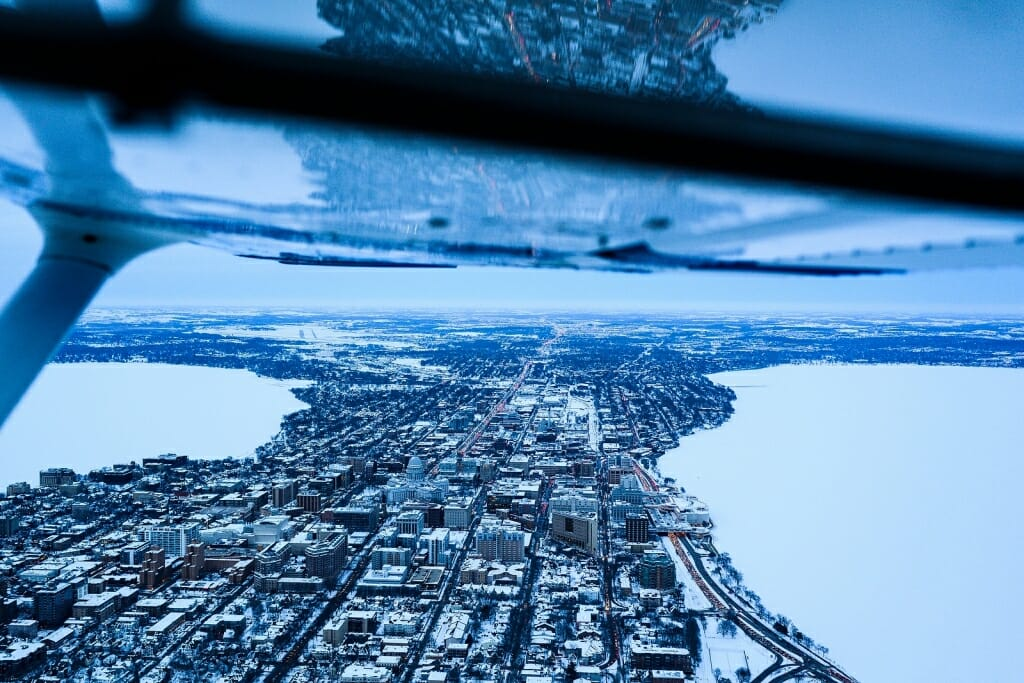 Photo: View out the window of the plane