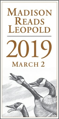 "Photo: Text ""Madison Reads Leopold 2019 March 2"" and drawing of 2 loons"