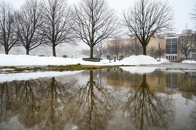 Photo: Big puddle on the UW-Madison Engineering Mall.
